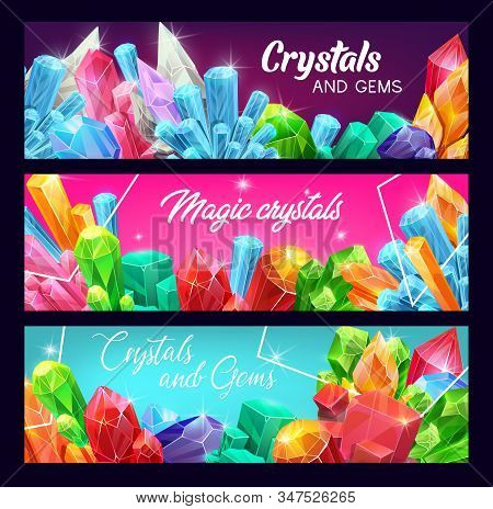 Crystals And Gems, Precious Gemstones And Jewels With Sparkling Shine. Vector Banners. Rhinestone Cr
