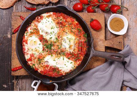 bell pepper and tomato sauce with egg- shakshuka
