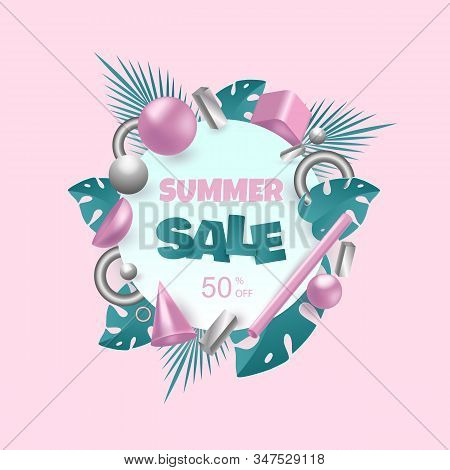 3d background. 3d rendered illustration with flying geometric shapes and tropical leaves. Hello Summer, summer time, summer day, summer day background, summer banners, summer flyer, summer design. Background for product design or text presentation layout.