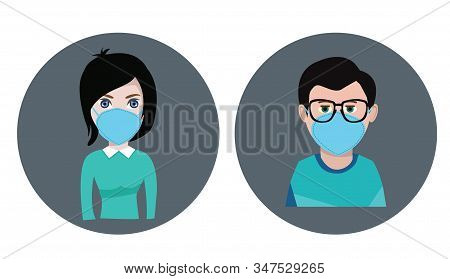 Vector Breathing Mask On Male And Female Face Dust Mask. Medical, Surgical Mask Healthy Care Concept