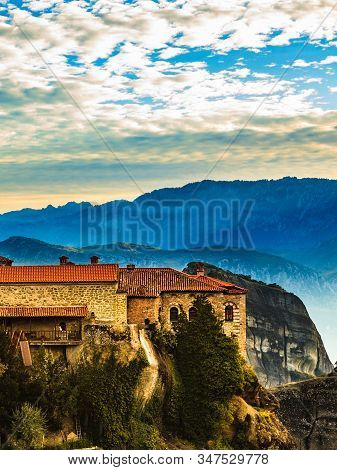 Holy Varlaam Monastery On Cliff In Meteora, Thessaly Greece. Greek Destinations