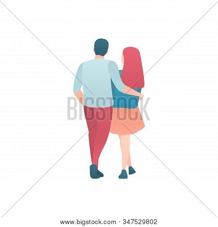 A Man And A Woman Walk Isolated On A White Flat Illustration. A Couple Of Lovers Together On A Date
