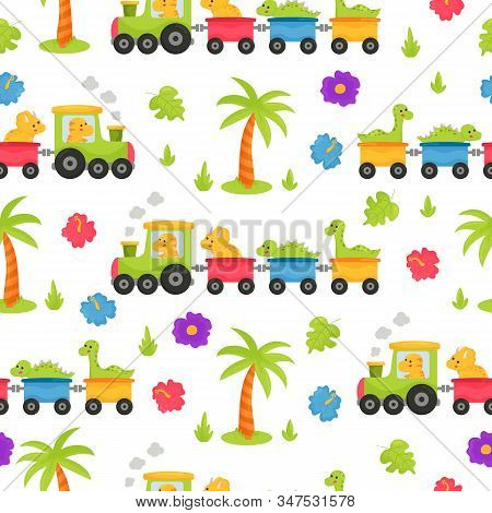Childish Seamless Pattern For Nursery. Cute Kawaii Cartoon Dinosaurs On The Train. Happy Colorful T-