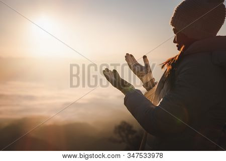 Christian Religion Concept Background, Human Hands Open Palm Up Worship. Remembering God And Gratitu