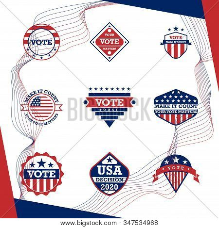 American Presidential Election Badges And Vote Labels.