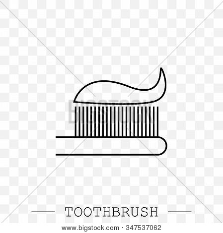 Vector Line Icon Of Toothbrush With Applied Toothpaste Portion. Toothbrush Icon Vector. Teeth Cleani