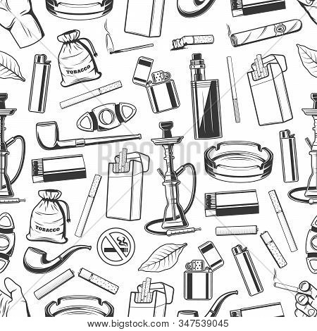 Tobacco And Smoking Accessories Seamless Pattern Background. Vector Cigarettes, Smoking Pipes And Ci