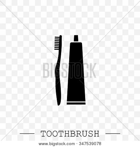 Vector Icon Of Toothbrush And A Tube Of Toothpaste. Toothbrush Icon Vector. Teeth Cleaning. Vector W