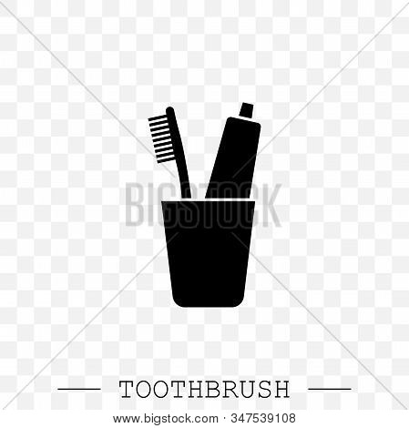 Vector Icon Of Toothbrush And A Tube Of Toothpaste In Glass. Toothbrush Icon Vector. Teeth Cleaning.