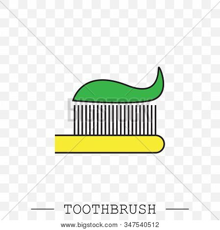 Vector Color Icon Of Toothbrush With Applied Toothpaste Portion. Toothbrush Icon Vector. Teeth Clean