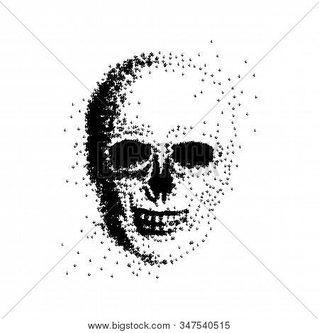 Vector Illustration Of A Skull Made Up Of Trees. Concept Of Forest Fire, Drought, Tree Cutting, Defo