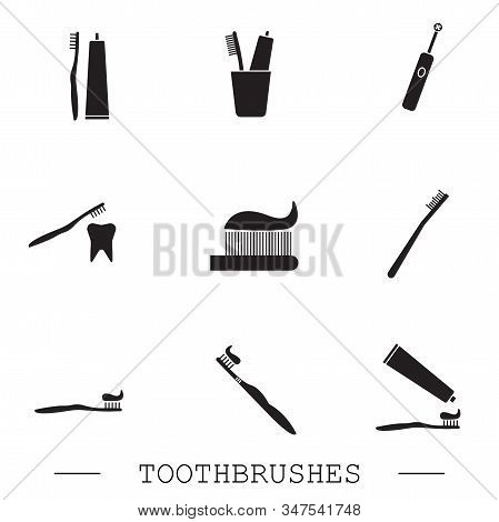 Toothbrush Icon Set. Teeth Cleaning. Electric Or Conventional Toothbrushes. Black Icon With Editable
