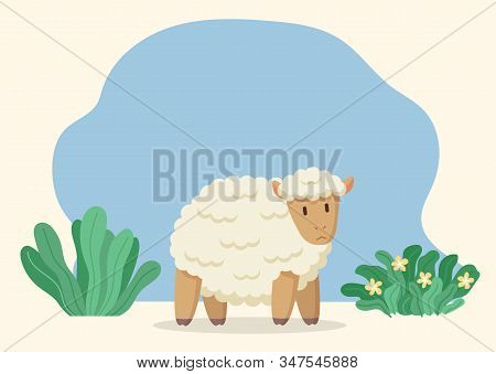 Woolly Sheep Stand On Ground On Meadow. Cartoon Character With White Fur Coat, Wool. Jumbuck On Farm