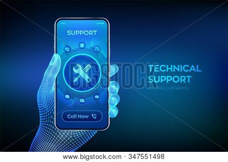 Technical Support. Customer Help. Tech Support. Customer Service, Business And Technology Concept. C