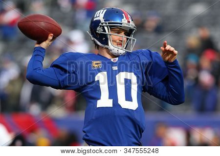 East Rutherford, NJ - JAN 8: New York Giants quarterback Eli Manning (10) before the 2011 NFC wild card playoff game against the Atlanta Falcons on January 8, 2012 at MetLife Stadium.