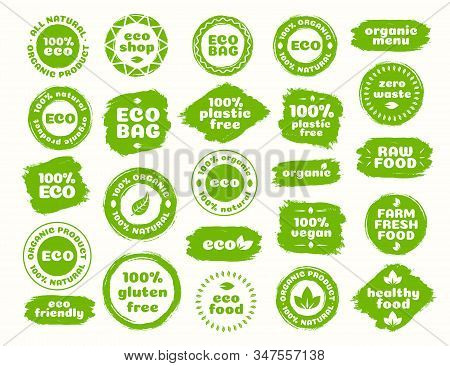 Eco Logo Set For Natural Product, Eco Bag, Nature Shop, Plastic Free, Healthy Vegan Food, Organic Pr
