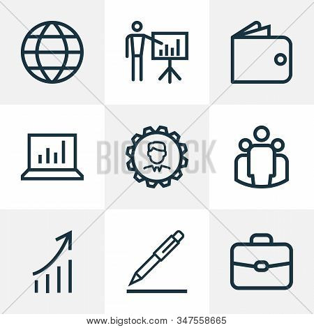 Trade Icons Line Style Set With Increasing, Pen, Presenting Man And Other Global Elements. Isolated