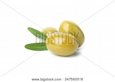 Tasty Green Olives And Leaves Isolated On White Background, Close Up