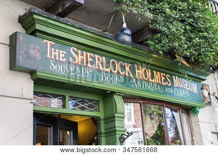 London, United Kingdom- June 2019: Sherlock Holmes Museum Sign In 221 Baker Street, London.