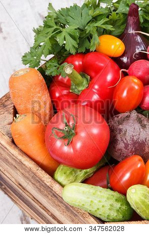 Heap Of Fresh Ripe Vegetables As Ingredients Containing Healthy Natural Vitamins And Minerals Using
