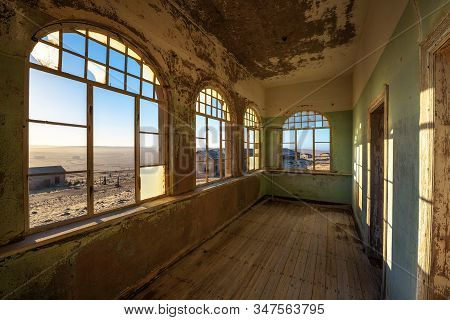 Kolmanskop, Namibia - March 27, 2019 : Ruins Of The Mining Town Named Kolmanskop Located In The Nami
