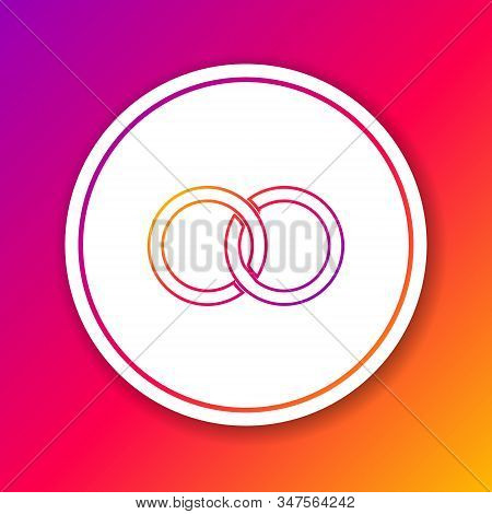 Color Line Wedding Rings Icon Isolated On Color Background. Bride And Groom Jewelery Sign. Marriage