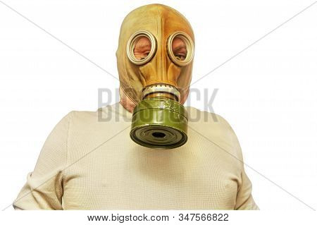 Corona Virus SARS concept. Men in gas mask taken closeup isolated on a white background.