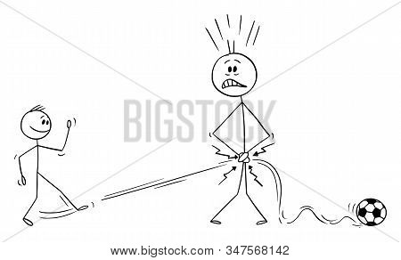Vector Cartoon Stick Figure Drawing Conceptual Illustration Of Father Or Man Plying Football Or Socc