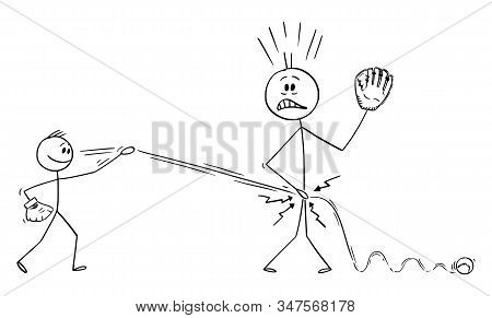 Vector Cartoon Stick Figure Drawing Conceptual Illustration Of Father Or Man Plying Baseball With So