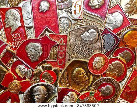 Ussr-circa 1983: Soviet Metal Badges With Depicting Vladimir Ilyich Lenin (ulyanov)  And The Inscrip