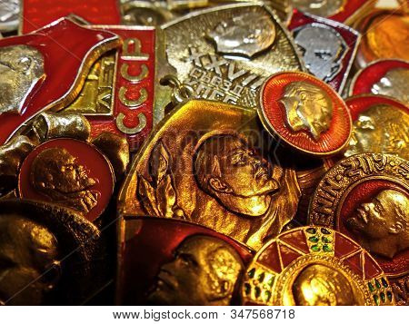 Ussr-circa 1983: Soviet Metal Badges With Depicting Vladimir Ilyich Lenin (ulyanov)  And The Inscrip