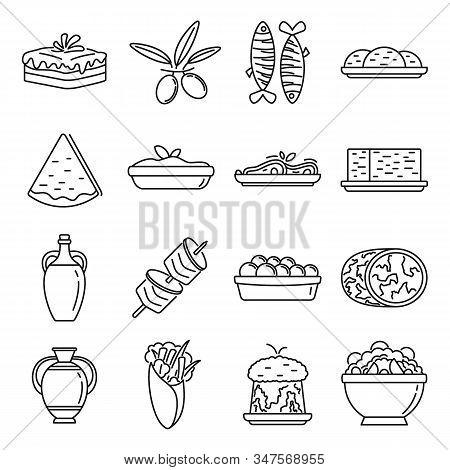 Greek Cuisine Food Icons Set. Outline Set Of Greek Cuisine Food Vector Icons For Web Design Isolated