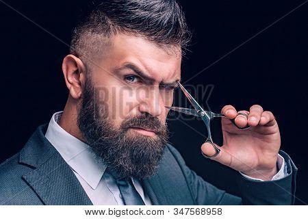 Scissors Concept. Bearded Man, Bearded Hipster. Stylish Man Beard. Barber Scissors. Vintage Barbersh