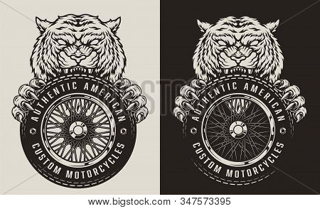 Vintage Animal Biker Mascot Print With Ferocious Tiger Holding Motorcycle Wheel In Monochrome Style
