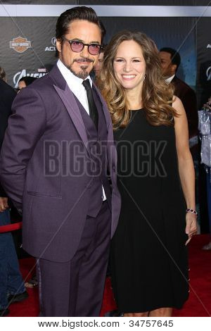 "LOS ANGELES - APR 11:  Robert Downey Jr., wife Susan Downey arrives at ""The Avengers"" Premiere at El Capitan Theater on April 11, 2012 in Los Angeles, CA"