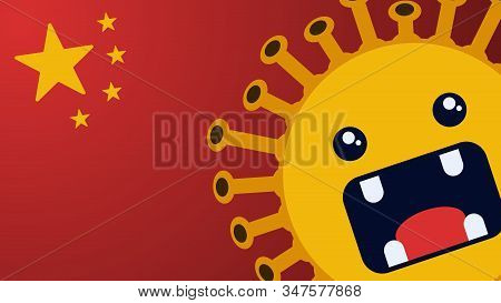 Corona Virus Cartoon Character And China Flag Image. Vector Illustration Concept Of The Viral Infect