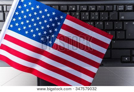 Flag Of United State On Computer, Laptop Keyboard