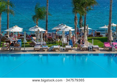 Protaras, Cyprus - Oct 12. 2019. Outdoor Swimming Pool In Constantinos The Great Beach Hotel.