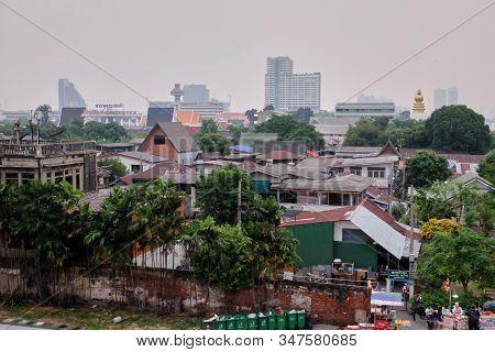 Bangkok, Thailand, December 28, 2018. Beggarly Shacks Of The Asian Metropolis. Slums Of The Capital