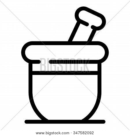 Long Medication Bowl Icon. Outline Long Medication Bowl Vector Icon For Web Design Isolated On White