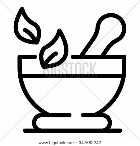 Bowl For Grinding Herbs Icon. Outline Bowl For Grinding Herbs Vector Icon For Web Design Isolated On