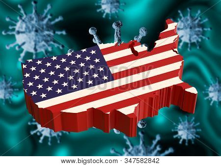 Coronavirus And Usa Flag, A Virus Pandemic Started In The Chinese City Of Wuhan And Is Spreading Acr