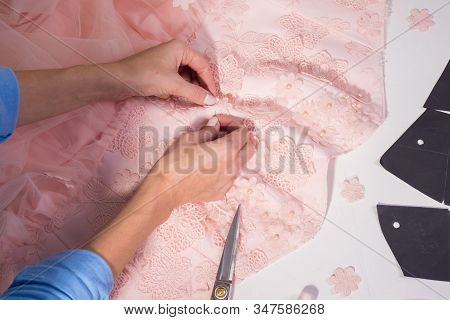 Top View Of A Couturier Designers Workplace In His Clothing Manufacturing Studio. Handmade Clothing,