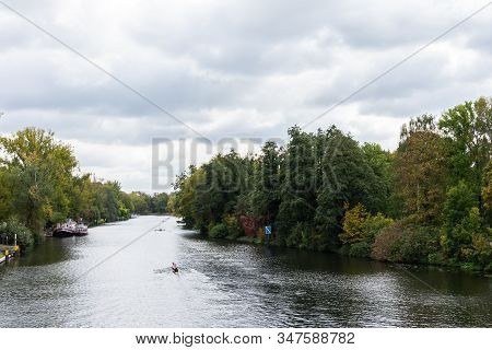 Berlin, Germany- October 5, 2019: View Of The River Spree From The Railway Bridge Near The Palace Ga