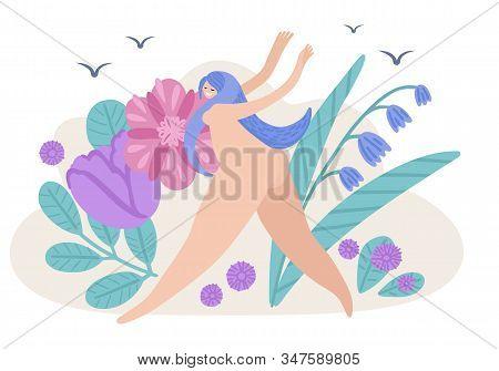 Joyful Naked Girl Runs Across The Field With Flowers. Summer Vector Illustration