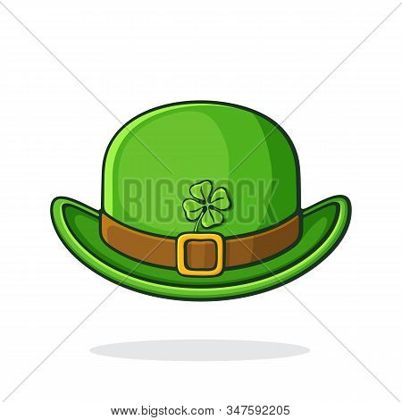 Vector Illustration. Front View Of Green Retro Bowler Hat With Golden Buckle And Clover. Saint Patri