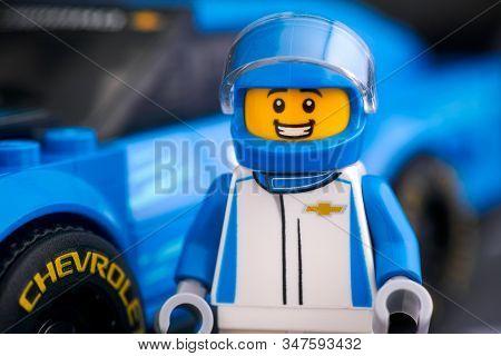 Tambov, Russian Federation - January 20, 2020 Lego Chevrolet Camaro Zl1 Driver Minifigure By Lego Sp