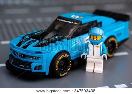 Tambov, Russian Federation - January 10, 2020 Lego Chevrolet Camaro Zl1 Race Car With Driver Minifig