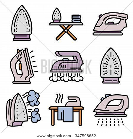 Smoothing-iron Icons Set. Outline Set Of Smoothing-iron Vector Icons For Web Design Isolated On Whit