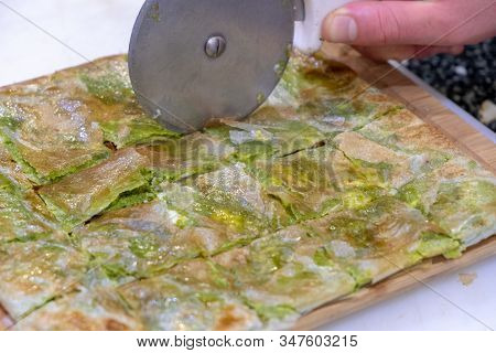 Delicious Turkish Sweet, Katmer With Green Pistachio Nuts